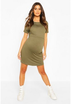 Khaki Maternity Nursing T-Shirt Dress