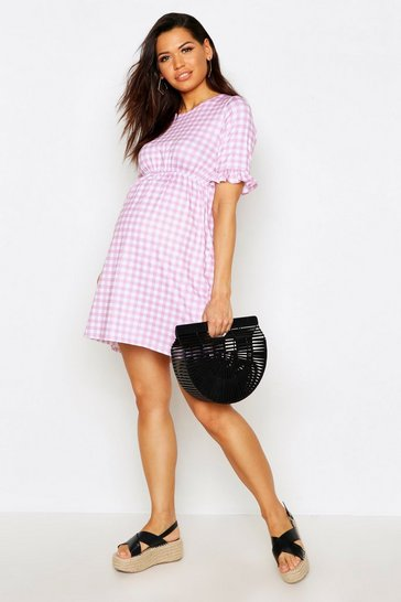 Pale pink pink Maternity Gingham Smock Dress
