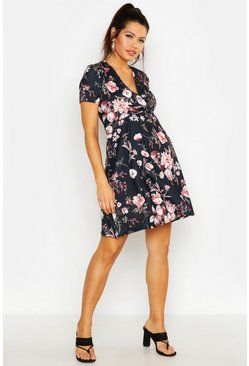 Black Maternity Floral Wrap Dress