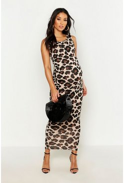 Brown Maternity Leopard Print Basic Maxi Dress