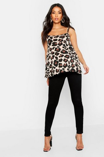 Brown Maternity Leopard Print Basic Cami