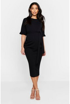 Black Maternity Ruffle Midi Bodycon Dress