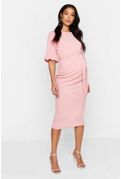 Rose pink Maternity Ruffle Midi Bodycon Dress