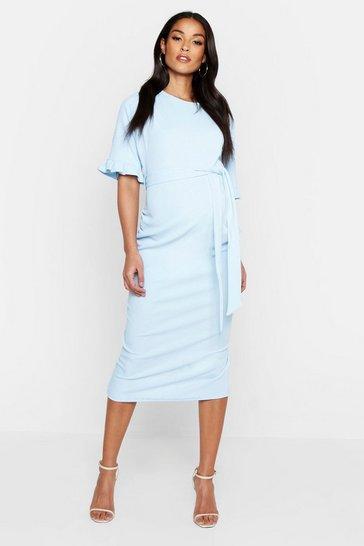 Sky blue Maternity Ruffle Midi Bodycon Dress