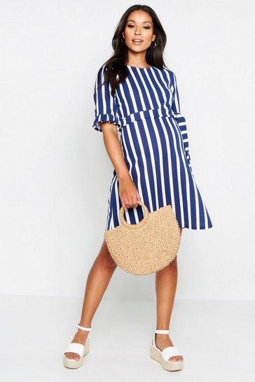 Navy Maternity Stripe Ruffle Smock Dress