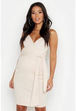 Stone beige Maternity Strappy Tie Front Bodycon Dress