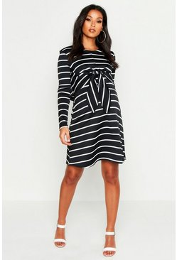 Black Maternity Nursing Knot Front Stripe Dress