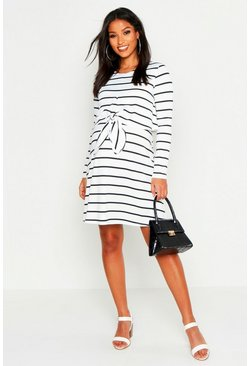 White Maternity Nursing Knot Front Stripe Dress