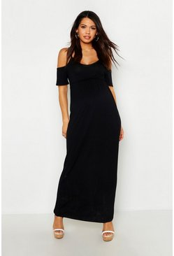 Black Maternity Cold Shoulder Maxi Dress