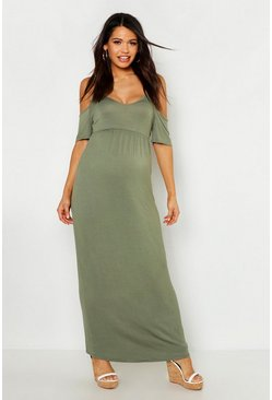 Khaki Maternity Cold Shoulder Maxi Dress