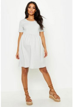 Light grey Maternity Stripe Smock Dress