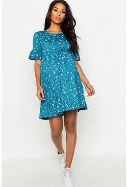 Teal green Maternity Floral Frill Sleeve Smock Dress