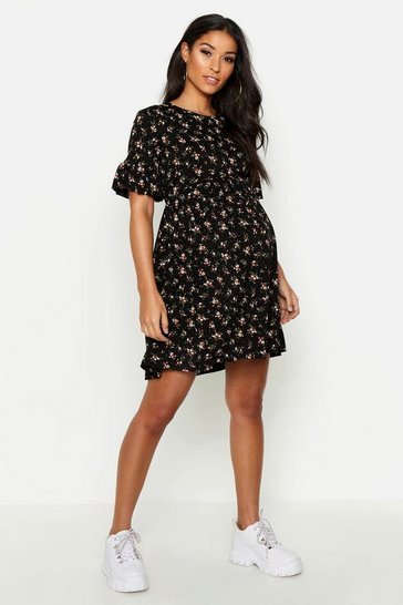Black Maternity Floral Frill Sleeve Smock Dress