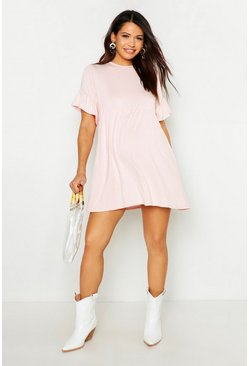 Blush pink Maternity Frill Sleeve Smock Dress