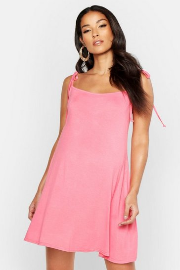 Coral pink Maternity Strap Detail Sundress