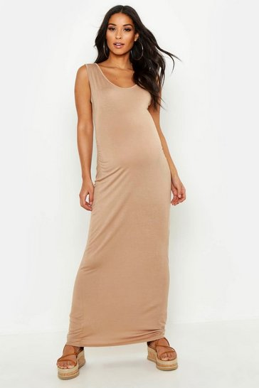 Camel beige Maternity Scoop Neck Maxi Dress