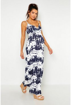 White Maternity Tie Dye Maxi Dress