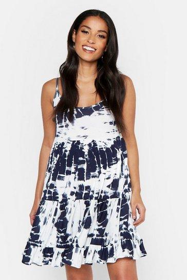 Navy Maternity Tie Dye Print Strappy Smock Dress