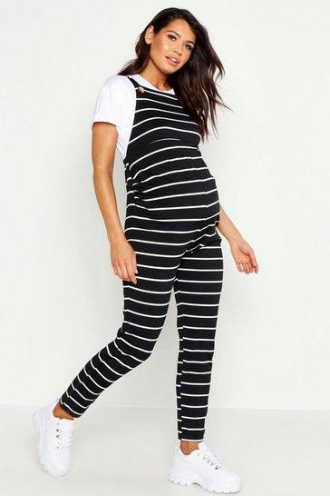 Black Maternity Jersey Stripe Dungarees