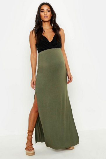 Khaki Maternity Basic Jersey Maxi Skirt
