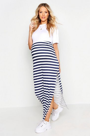 Navy Maternity Stripe Maxi Skirt