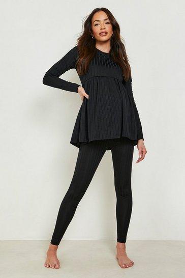 Black Maternity Smock Loungewear Set