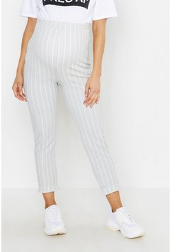 Light grey grey Maternity Stripe Turn Up Cuff Pants
