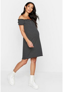 Black Maternity Lettuce Hem Stripe Rib Bodycon Dress