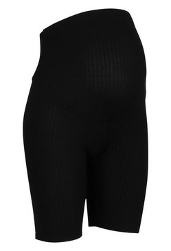 Black Maternity Rib Cycling Short