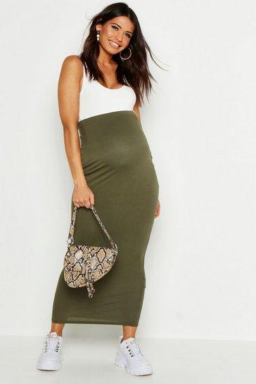 Khaki Maternity Over The Bump Maxi Skirt