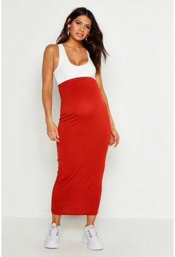 Rust orange Maternity Over The Bump Maxi Skirt