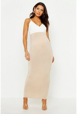 Maternity Over The Bump Maxi Skirt, Stone beige