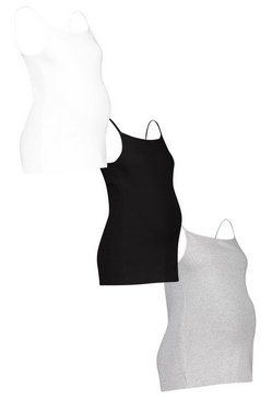 Multi Maternity 3 Pack Ribbed Cami Vest Top