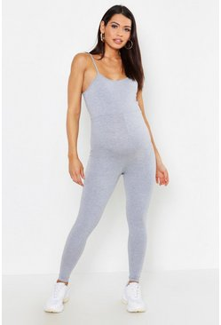 Grey Maternity Strappy Lounge Romper