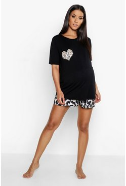 Black Maternity Leopard Heart Short Pajama Set