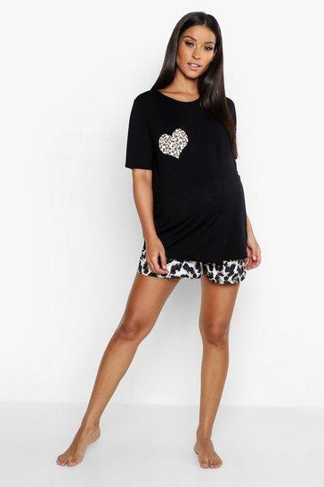 Black Maternity Leopard Heart Short Pyjama Set