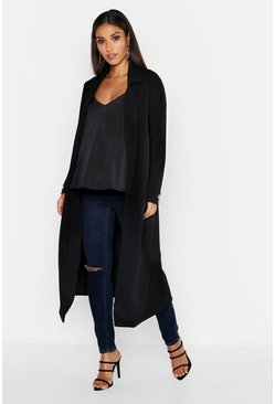 Black Maternity Longline Button Detail Duster