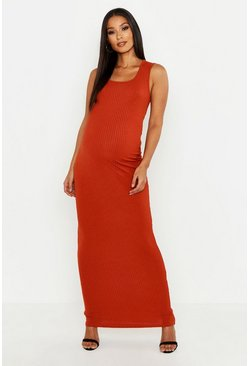 Rust orange Maternity Scoop Rib Maxi Dress