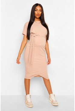 Stone Maternity Tie Waist Batwing Midi Dress