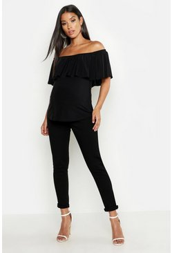 Black Maternity Off The Shoulder Slinky Frill Top