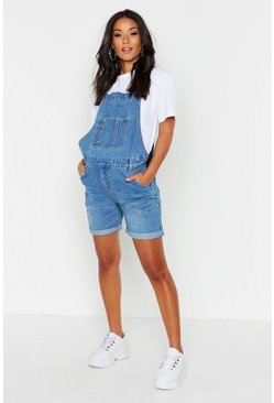 Blue Maternity Dungaree Shorts