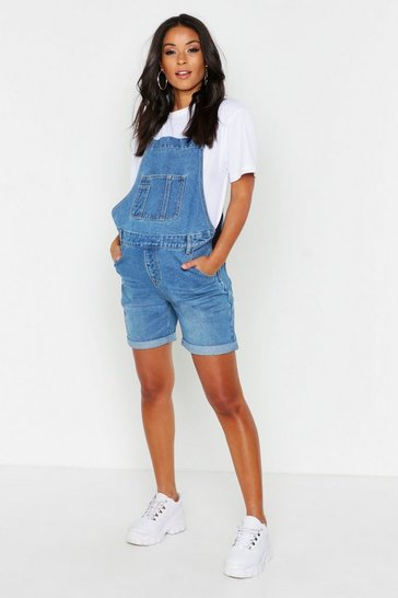 Blue Maternity Dungaree Shorts