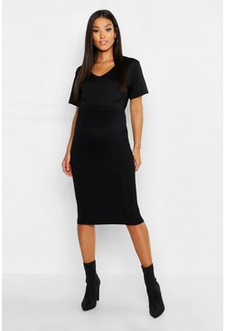 Black Maternity Over The Bump Midi Skirt
