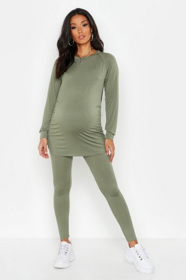 Khaki Maternity Nursing Lounge Set