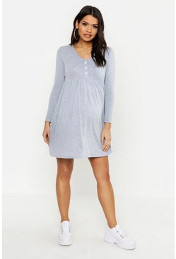 Light grey grey Maternity Button Front Smock Dress