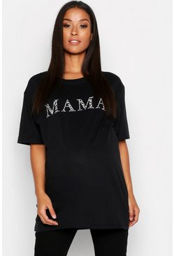 Black Maternity Mama T-Shirt