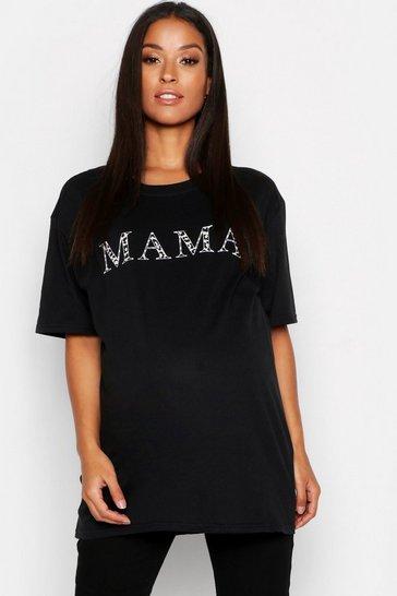 Black Maternity Mama T-Shirt