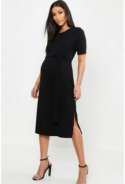 Black Maternity Tie Front Midi Dress