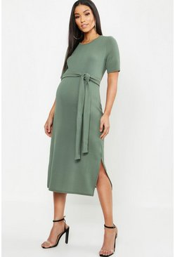 Khaki Maternity Tie Front Midi Dress
