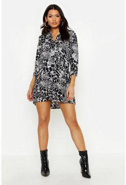 Black Maternity Mixed Animal Shirt Dress